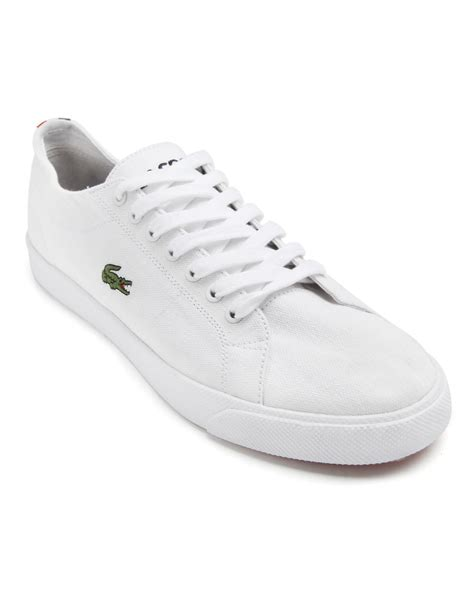 lacoste marcel white canvas sneakers in white for lyst