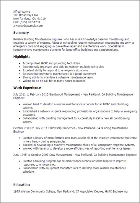 maintenance engineer resume format pdf professional building maintenance engineer templates to showcase your talent myperfectresume