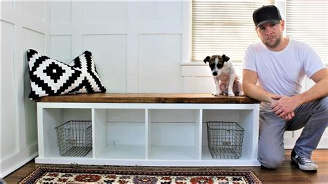 bench ikea hack ikea hack the shiplap style storage bench youtube