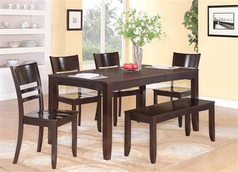 Dining Table With Bench And 4 Chairs 6pc Rectangular Dinette Kitchen Dining Table With 4 Wood Seat Chairs And 1 Bench Ebay