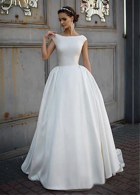simple satin vintage modest wedding dresses  cap