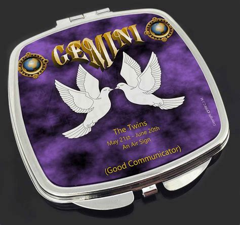 Zod Gemini gemini sign birthday gift make up compact mirror