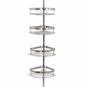 zenith two tone bath tub and shower pole caddy chrome w