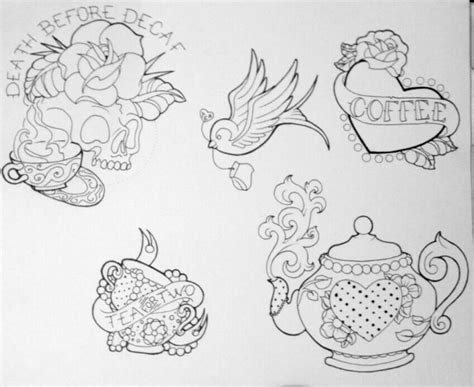 tattoo flash line art coffee and tea tattoo flash skull teapot swallow