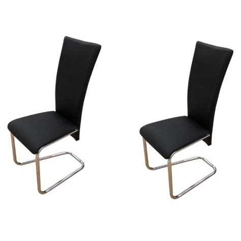 Black Leather And Chrome Dining Chairs 2x Faux Leather Dining Chairs W Chrome Legs Black Buy Sets Of 2