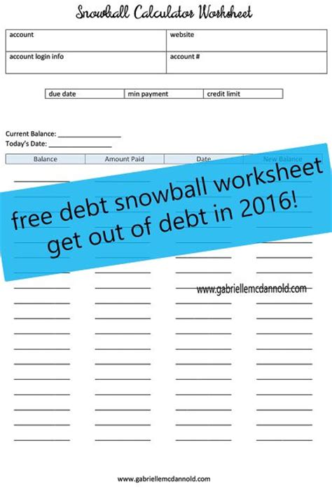 Get Out Of Debt Spreadsheet by Free Debt Snowball Worksheet Budget Debt