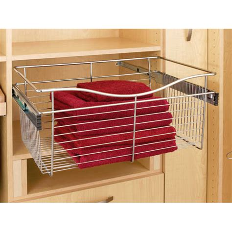 pull out wire closet basket 18w x 16d x 11h satin nickel
