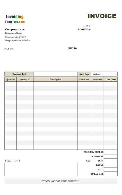 template for invoice uk invoice template for hours worked free