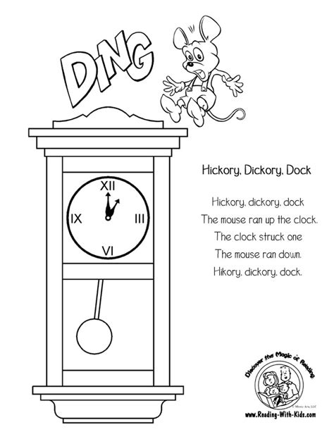 printable coloring pages nursery rhymes hickory dickory dock printable
