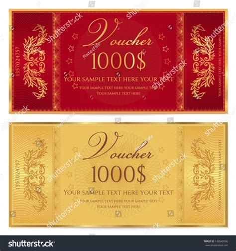 gold ticket voucher gift certificate coupon stock vector