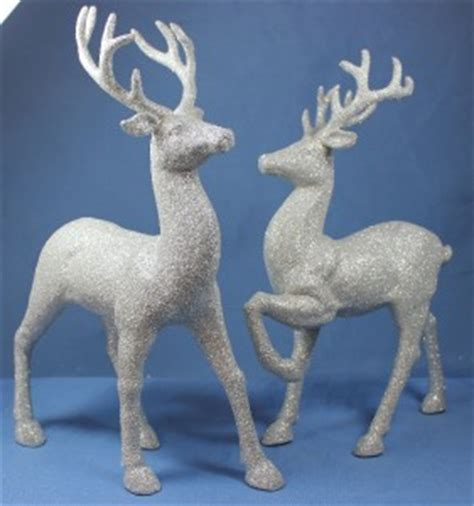 new set of 2 standing silver glitter christmas reindeer