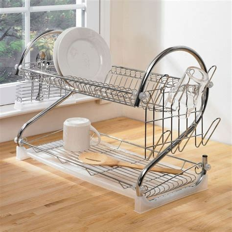 2 Tier Dish Rack Stainless Steel by 2 Tier Dish Drainer Stainless Steel Chrome Kitchen Rack