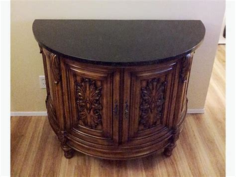 Used Furniture Kitchener by Bombay Company Stone Top Liquor Cabinet Half Moon Table