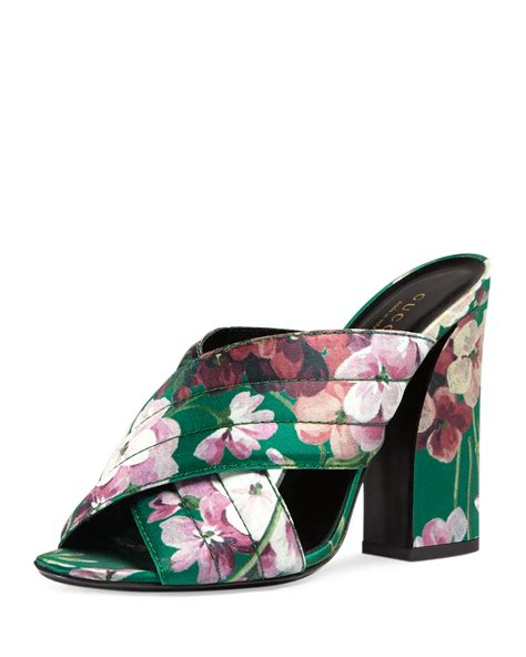 floral print sandals gucci webby satin floral print sandals in green lyst