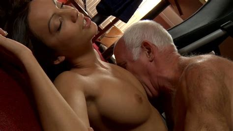 wrinkled old man eats and fucks soaking tight pussy of