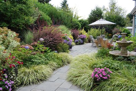 Grass Garden Ideas Ornamental Grass Garden Ideas Landscape Traditional With Pink Flowers Patio Furniture Water Feature