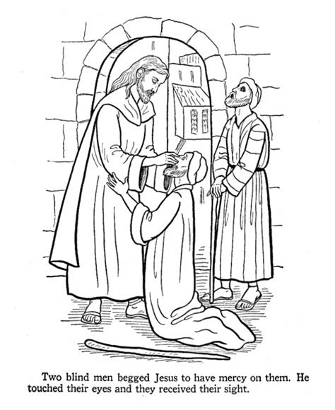 sunday school coloring pages jesus heals the sick jesus heals two blind men give each kid two pictures