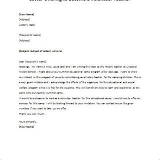 Official Volunteer Letter Formal Official And Professional Letter Templates Part 6