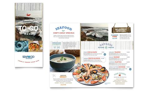 seafood menu templates seafood restaurant take out brochure template design