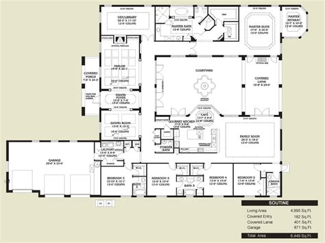 Spanish Style Home Plans With Courtyard Spanish Style Kitchen Floors Spanish Style Home Floor