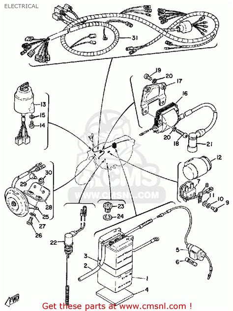 yamaha rs100 1975 usa electrical schematic partsfiche