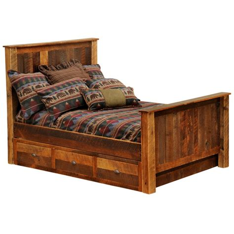 rustic bed rustic barnwood traditional bed with underbed 3 drawer