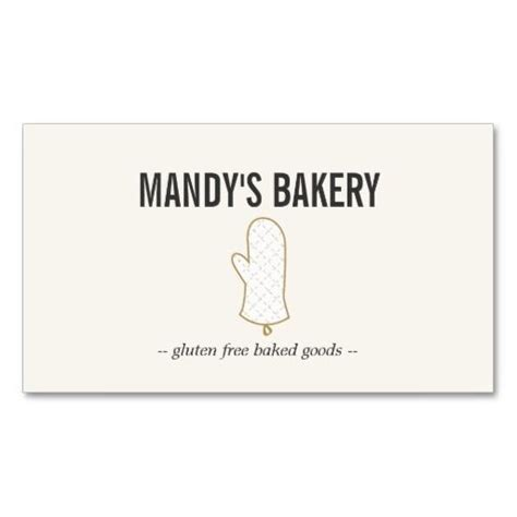 Business Card Templates For Baked Goods by Oven Mitt Logo Gold On Beige For Bakery Business Card