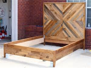 Reclaimed Wood Bed Frame Plans White West Elm Knockoff Chevron Featuring Jen