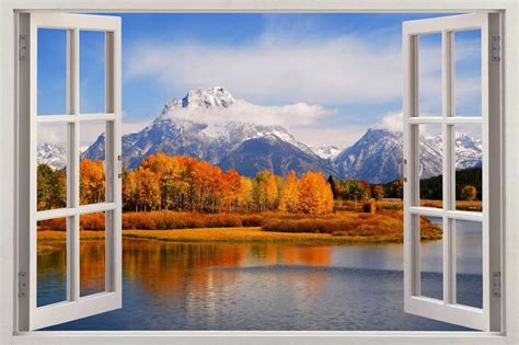 scenic wall murals mountain forest 3d window view decal wall sticker decor mural scenic view ebay