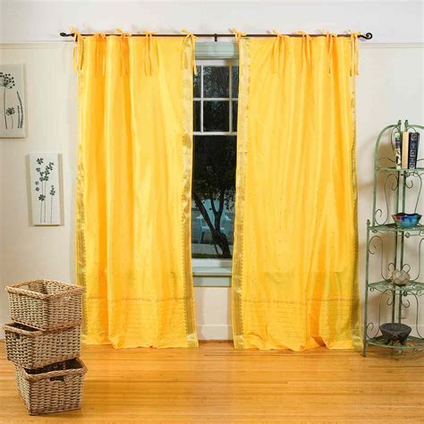 yellow drapery panels yellow tie top sheer sari curtain drape panel piece
