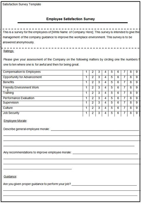 templates for surveys blank survey template free premium templates