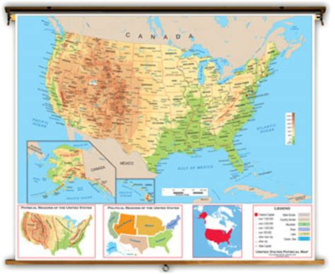 usa map key physical map of the united states with key
