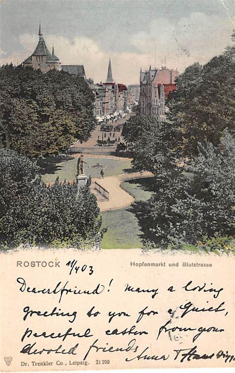 am hopfenmarkt rostock rostock hopfenmarkt und blustrasse 1903 duitsland