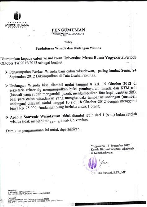 pendaftaran agenda dan pengembalian toga wisuda oktober 2012 bagian
