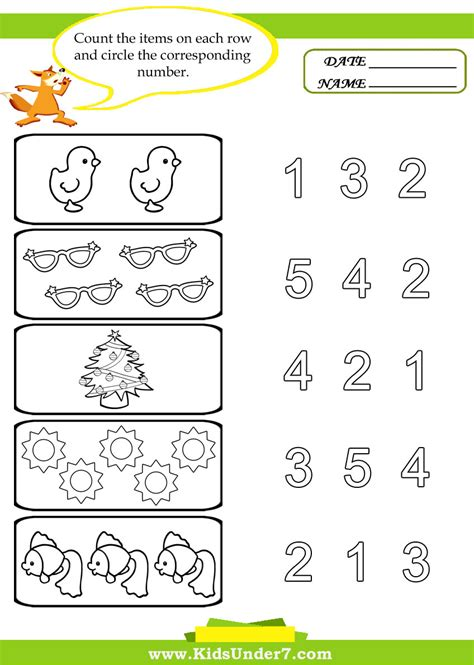 Kids Under Free Printable Kindergarten Number Worksheets Numbers Learning Word Sense Line Kid Worksheets Printable