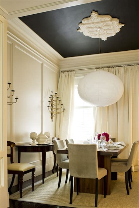 black painted room painted black ceiling contemporary dining room