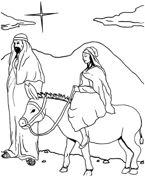coloring pages mary and joseph bethlehem joseph accept rejection from people and mary sitting on