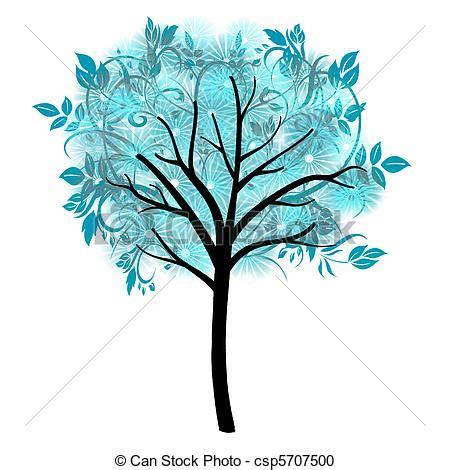 winter design trees retro art template abstract beautiful ornamental blue tree illustration stock illustration