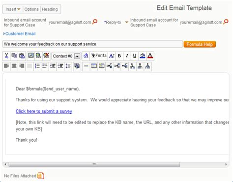 Survey And Questionnaire Exle Setup Help Agiloft Help Survey Email Template