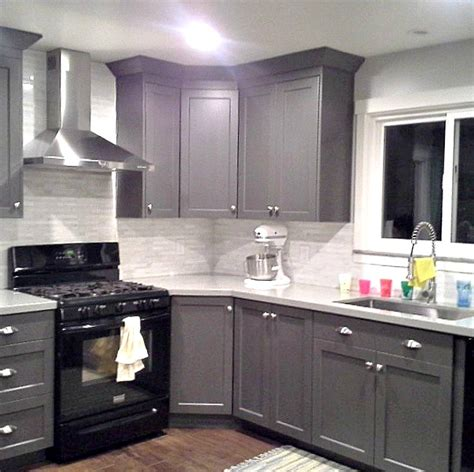 black appliances in kitchen grey cabinets black appliances silver hardware full