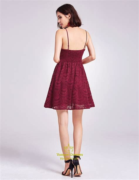 V Neck Spaghetti Lace Dress burgundy spaghetti v neck a line lace