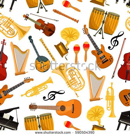 cartoon themes orchestra guitar floral details entertainment design jpeg stock