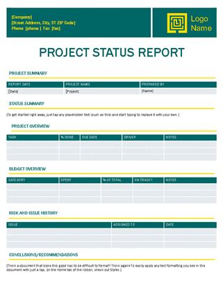 Project Status Report Timeless Design Status Report Template