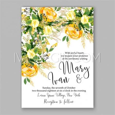 wedding invitation card suite with flower templates wedding invitation card template yellow floral