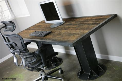 modern industrial desk table steel i beam loft