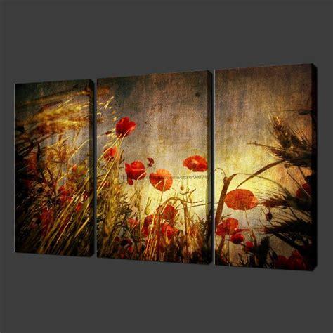 wall decor sports set of 4 canvas art sports room decor aliexpress com buy grunge poppies set of three quality