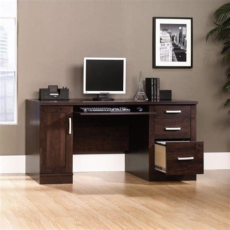 sauder office port executive desk in dark alder credenza in dark alder 408291