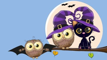 firefox themes owl halloween owls and cat birds animals background