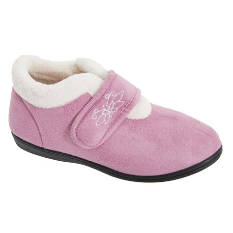 fleece slippers womens touch fastening fleece lined slippers