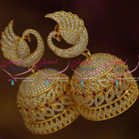 design earrings online j7620 big size cz gold plated peacock design jhumka